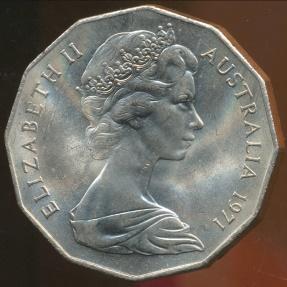 World Coins - Australia, 1971 Fifty Cents, 50c, Elizabeth II - Uncirculated