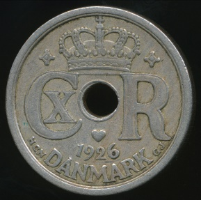 World Coins - Denmark, Kingdom, Christian X, 1926 25 Ore - Very Fine
