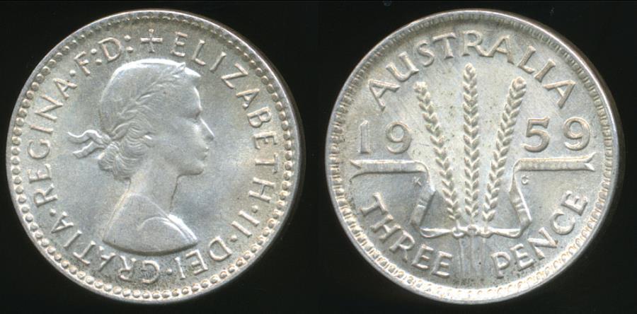 World Coins - Australia, 1959 Threepence, 3d, Elizabeth II (Silver) - Uncirculated