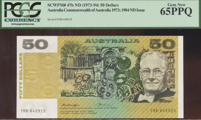 World Coins - Australia - $50 Knight-Wheeler, Centre thread (1976) R506a - PCGS 65PPQ