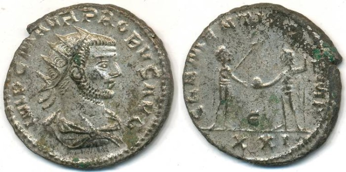 Ancient Coins - PROBUS, Silvered Antoninianus, AD 276-282, Antioch mint, (22mm, 4.27 gm) - RIC V, Part II, 921