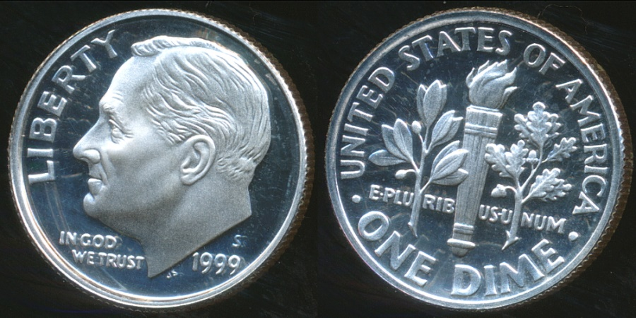 World Coins - United States, 1999-S Dime, Roosevelt (Silver) - Proof