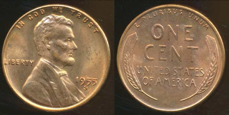 World Coins - United States, 1955-S One Cent, Lincoln Wheat - Choice Uncirculated