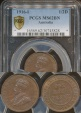 World Coins - Australia, 1916(I) Halfpenny, George V - PCGS MS62BN