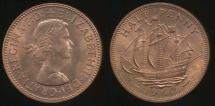 Great Britain, Kingdom, 1962 Halfpenny, 1/2d, Elizabeth II - Uncirculated