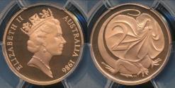 World Coins - Australia, 1986 Two Cents, 2c, Elizabeth II - PCGS PR69DCAM (Proof)