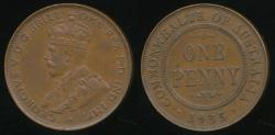World Coins - Australia, 1935 One Penny, 1d, George V - Extra Fine