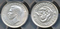 World Coins - Australia, 1943(m) One Shilling, 1/-, George VI (Silver) - PCGS MS62 (Unc)