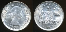 World Coins - Australia, 1957 Sixpence, 6d, Elizabeth II (Silver) - almost Uncirculated