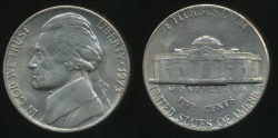 World Coins - United States, 1973 5 Cents, Jefferson Nickel - Uncirculated