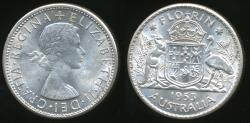 World Coins - Australia, 1953 Florin, 2/-, Elizabeth II (Silver) - almost Uncirculated