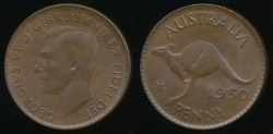 World Coins - Australia, 1950(p) One Penny, 1d, George VI - Uncirculated