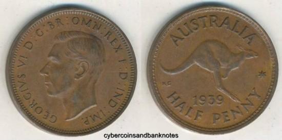 World Coins - AUSTRALIA - 1939-Roo, Halfpenny, George VI - EF