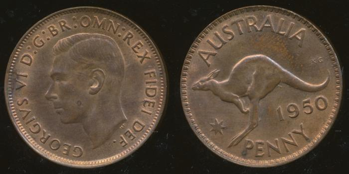 World Coins - AUSTRALIA - 1950, One Penny, George VI - Unc