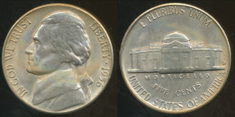 World Coins - United States, 1956-D 5 Cents, Jefferson Nickel - Uncirculated