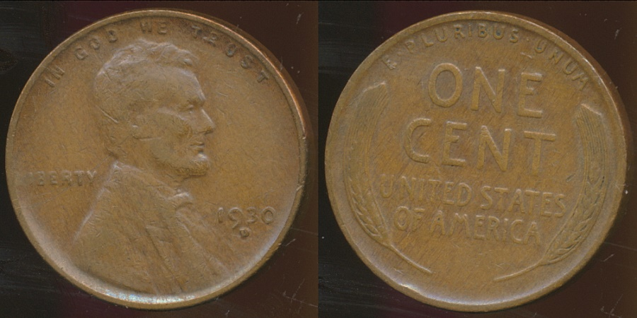 World Coins - United States, 1930-D One Cent, Lincoln Wheat - Fine