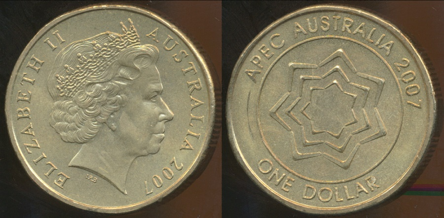 World Coins - Australia, 2007 $1 One Dollar, Elizabeth II (APEC) - Uncirculated