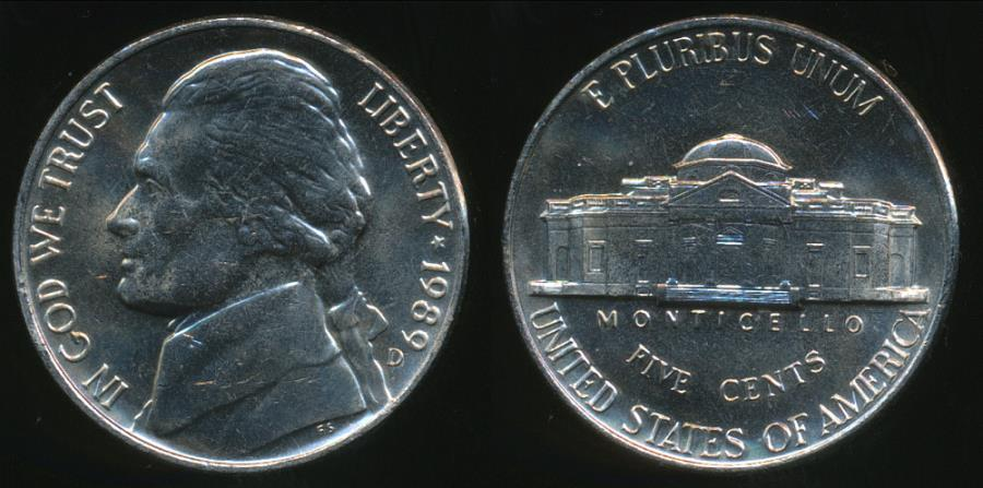 World Coins - United States, 1989-D 5 Cents, Jefferson Nickel - Uncirculated