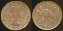 World Coins - Australia, 1958(p) One Penny, 1d, Elizabeth II - Uncirculated