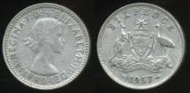 World Coins - Australia, 1957 Sixpence, 6d, Elizabeth II (Silver) - Very Good
