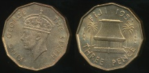 Fiji, Republic British Administration, 1952 Threepence, George VI - Uncirculated