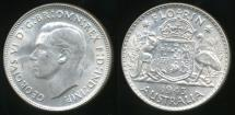 World Coins - Australia, 1943(m) Florin, 2/-, George VI (Silver) - almost Uncirculated