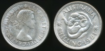 World Coins - Australia, 1961 One Shilling, Elizabeth II (Silver) - Uncirculated