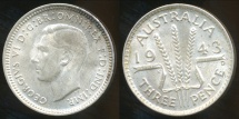 World Coins - Australia, 1943(d) Threepence, George VI (Silver) - Uncirculated