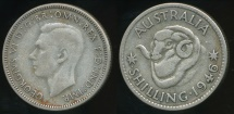 World Coins - Australia, 1946(s) One Shilling, 1/-, George VI (Silver) - Very Good