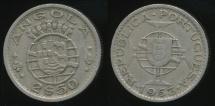 World Coins - Angola, Portuguese Colony, 1953 2-1/2 Escudos - Very Fine