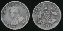 World Coins - Australia, 1919(m) Threepence, 3d, George V (Silver) - Very Good