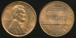 World Coins - United States, 1960 One Cent, Lincoln Memorial (Small Date) - Uncirculated
