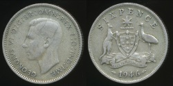 World Coins - Australia, 1946 Sixpence, 6d, George VI (Silver) - Very Good