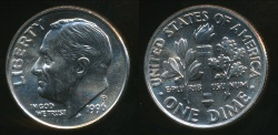 World Coins - United States, 1996-P Dime, Roosevelt - Uncirculated
