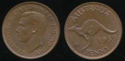 World Coins - Australia, 1939 One Penny, 1d, George VI - Uncirculated