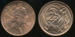 World Coins - Australia, 1989 Two Cents, 2c, Elizabeth II - Uncirculated