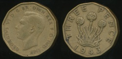 World Coins - Great Britain, Kingdom, 1943 3 Pence, George VI - Fine