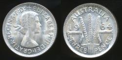 World Coins - Australia, 1964 Threepence, 3d, Elizabeth II (Silver) - Uncirculated