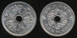 World Coins - Denmark, Kingdom, Margrethe II, 1992 1 Krone - Uncirculated