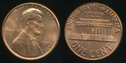 World Coins - United States, 1972 One Cent, 1c, Lincoln Memorial - Uncirculated