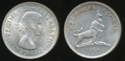 World Coins - Australia, 1954 Florin, 2/-, Elizabeth II (Royal Visit)(Silver) - almost Uncirculated