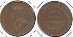 World Coins - Australia, 1934 Halfpenny, 1/2d, George V - Extra Fine