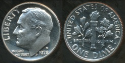 World Coins - United States, 1978-S Dime, Roosevelt - Proof