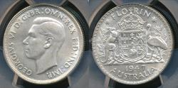World Coins - Australia, 1947(m) Florin, 2/-, George VI (Silver) - PCGS MS63 (Ch-Unc)