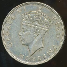 World Coins - Seychelles, British Crown Colon, 1939 Rupee, George VI (Silver) - Very Fine