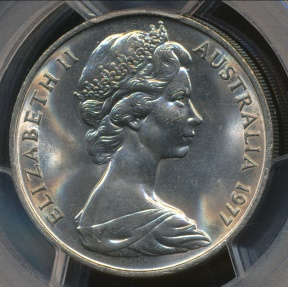 World Coins - Australia, 1977 Twenty Cents, 20c, Elizabeth II - PCGS MS65