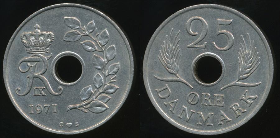 World Coins - Denmark, Kingdom, Frederik IX, 1971 25 Ore - almost Uncirculated