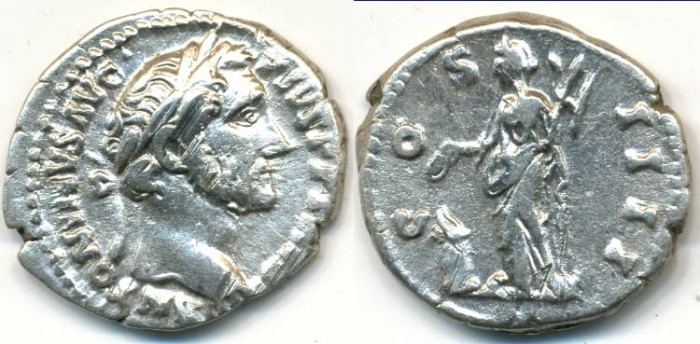 Ancient Coins - ANTONINUS PIUS, AR Denarius, AD 138-161, Rome mint, (19mm, 3.37 gm), Struck AD 155 - RIC 238