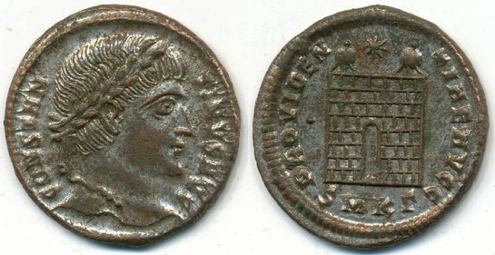 Ancient Coins - CONSTANTINE I, Silvered AE-3, AD 306-337, Cyzicus mint, Struck 324-325 AD, (19mm, 2.61 gm) - RIC VII, 34