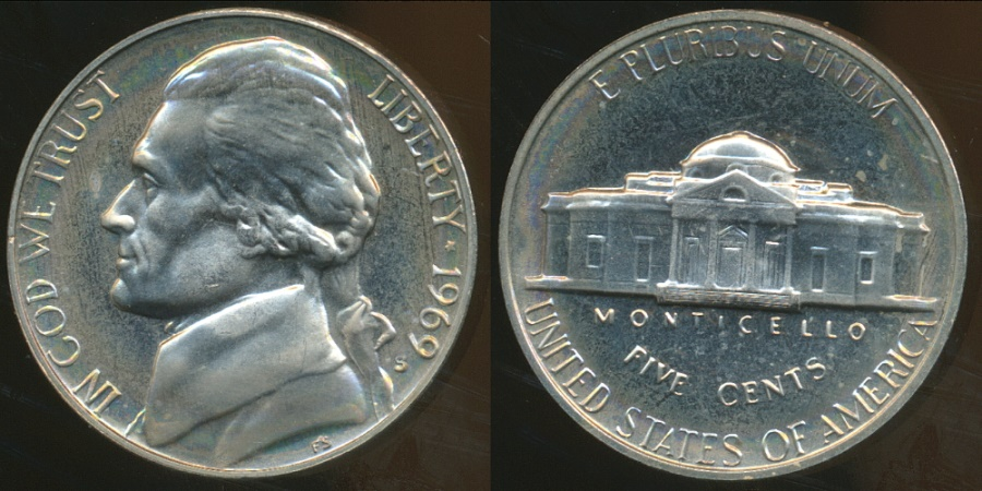 World Coins - United States, 1969-S 5 Cents, Jefferson Nickel - Proof
